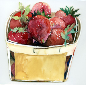 Wooden Box Filled With Strawberries