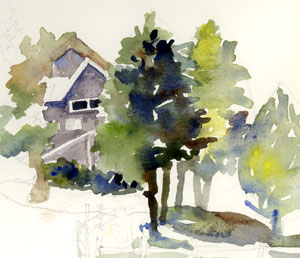"Potomac Overlook | watercolor sketch | 4"" by 3"" 