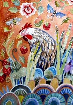 Chicken in a Fantasy Garden