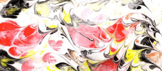 Red, Black and Yellow Marbled Paper